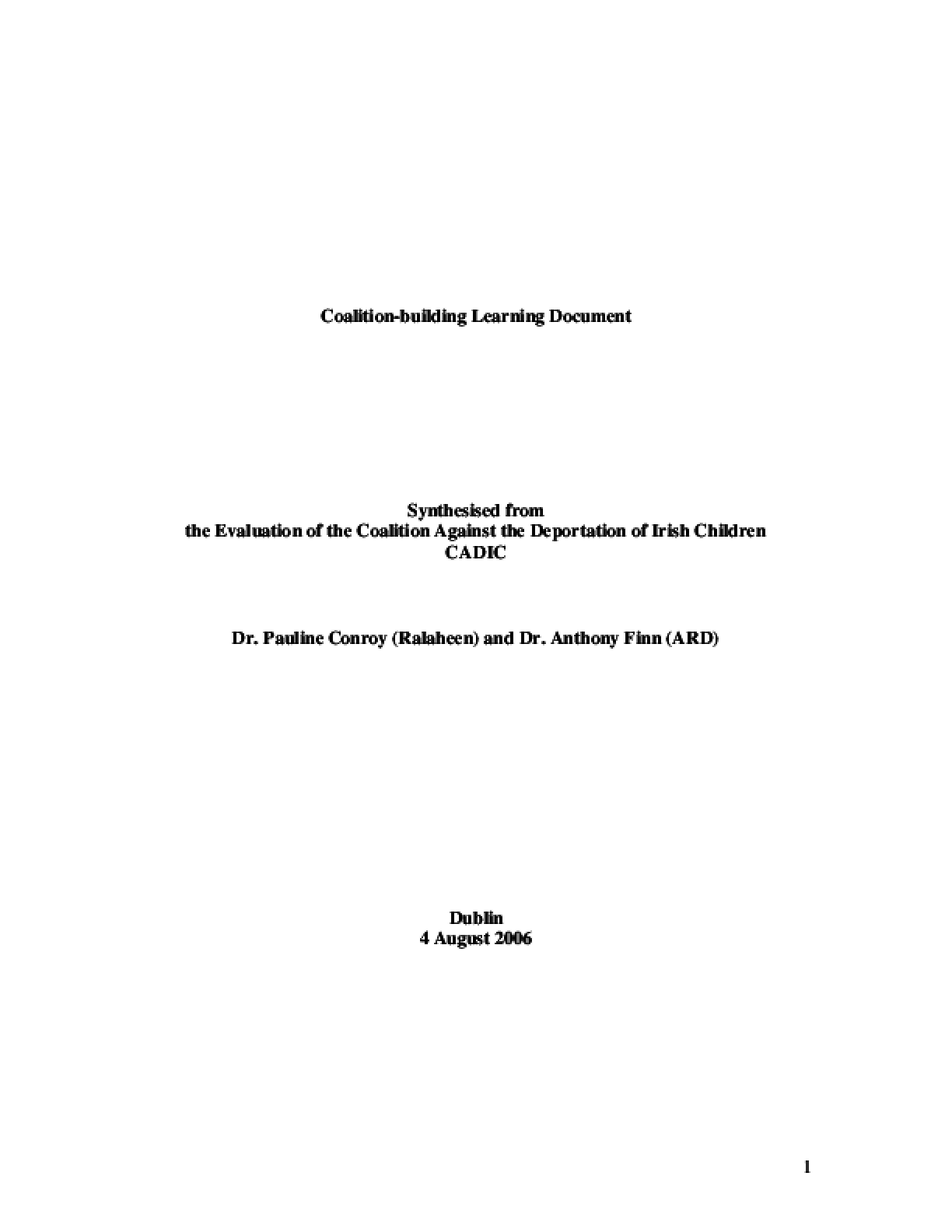 Coalition-building Learning Document: Synthesised from the Evaluation of the Coalition Against the Deportation of Irish Children CADIC