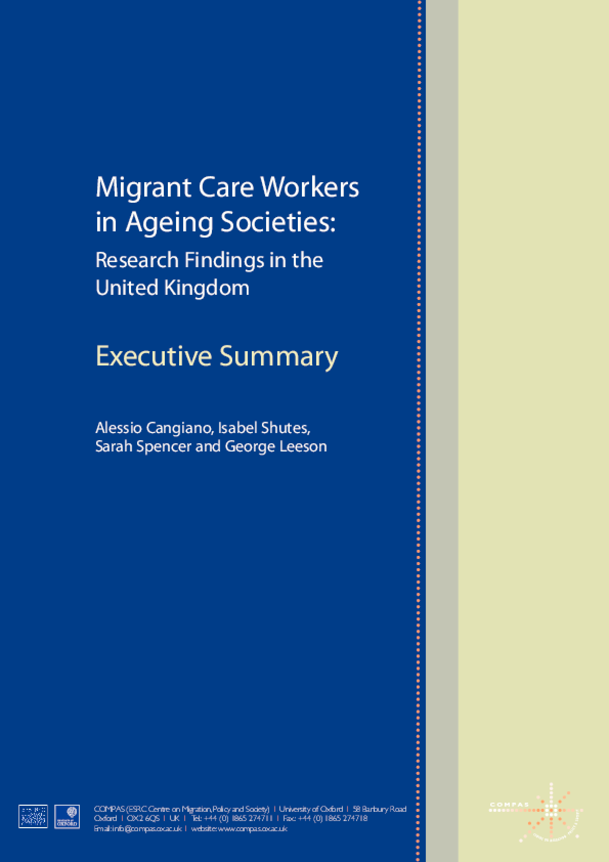 Migrant Care Workers in Ageing Societies: Research Findings in the United Kingdom