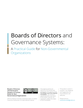 Boards of Directors and Governance Systems: A Practical Guide for Non-Governmental Organizations
