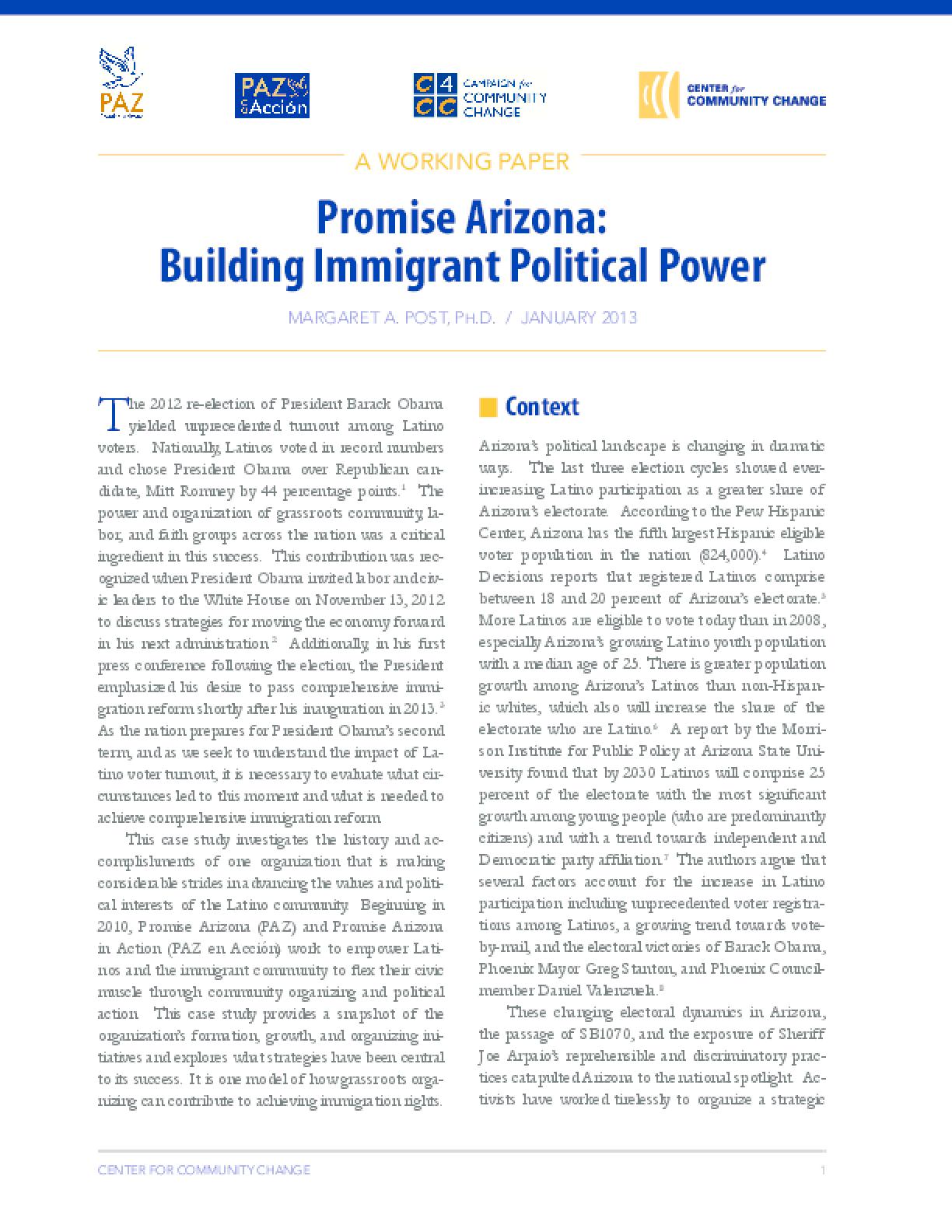 Promise Arizona: Building Immigrant Political Power