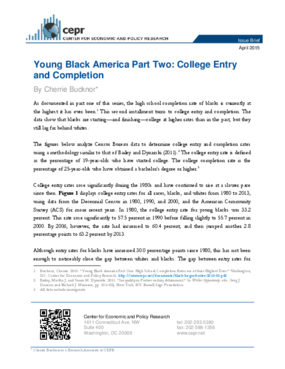Young Black America Part Two: College Entry and Completion