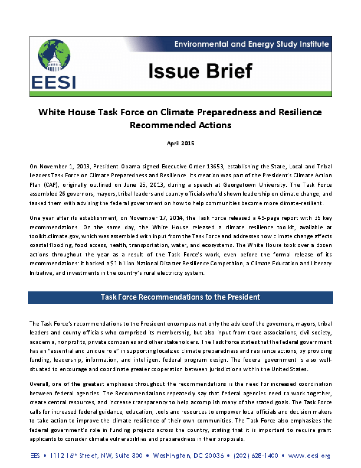Issue Brief: White House Task Force on Climate Preparedness and ...