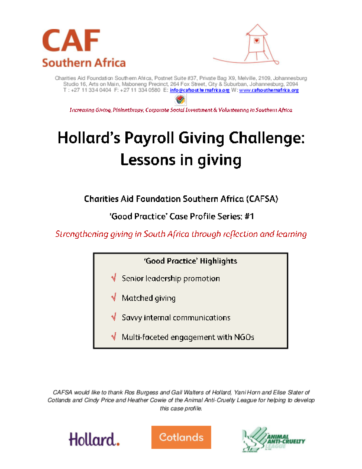 Hollard's Payroll Giving Challenge: Lessons in giving