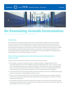 Re-Examining Juvenile Incarceration: High Cost, Poor Outcomes Spark Shift to Alternatives