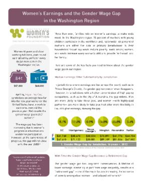 Women's Earnings and the Gender Wage Gap in Washington Region