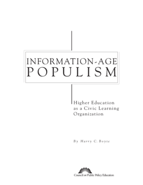 Information-Age Populism: Higher Education as a Civic Learning Organization