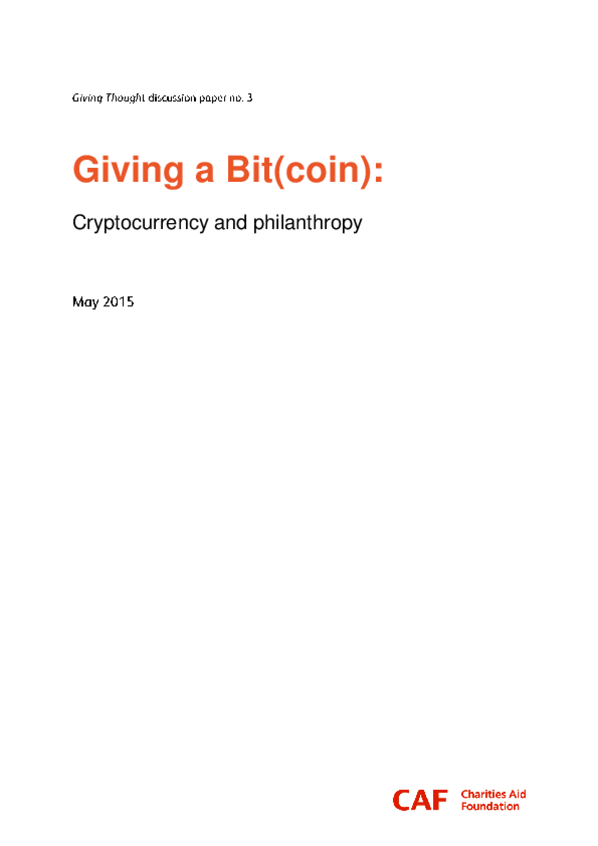 Giving a Bit(coin): Cryptocurrency and Philanthropy