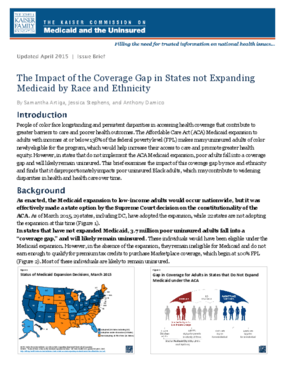 The Impact of the Coverage Gap in States not Expanding Medicaid by Race and Ethnicity: Update 2015
