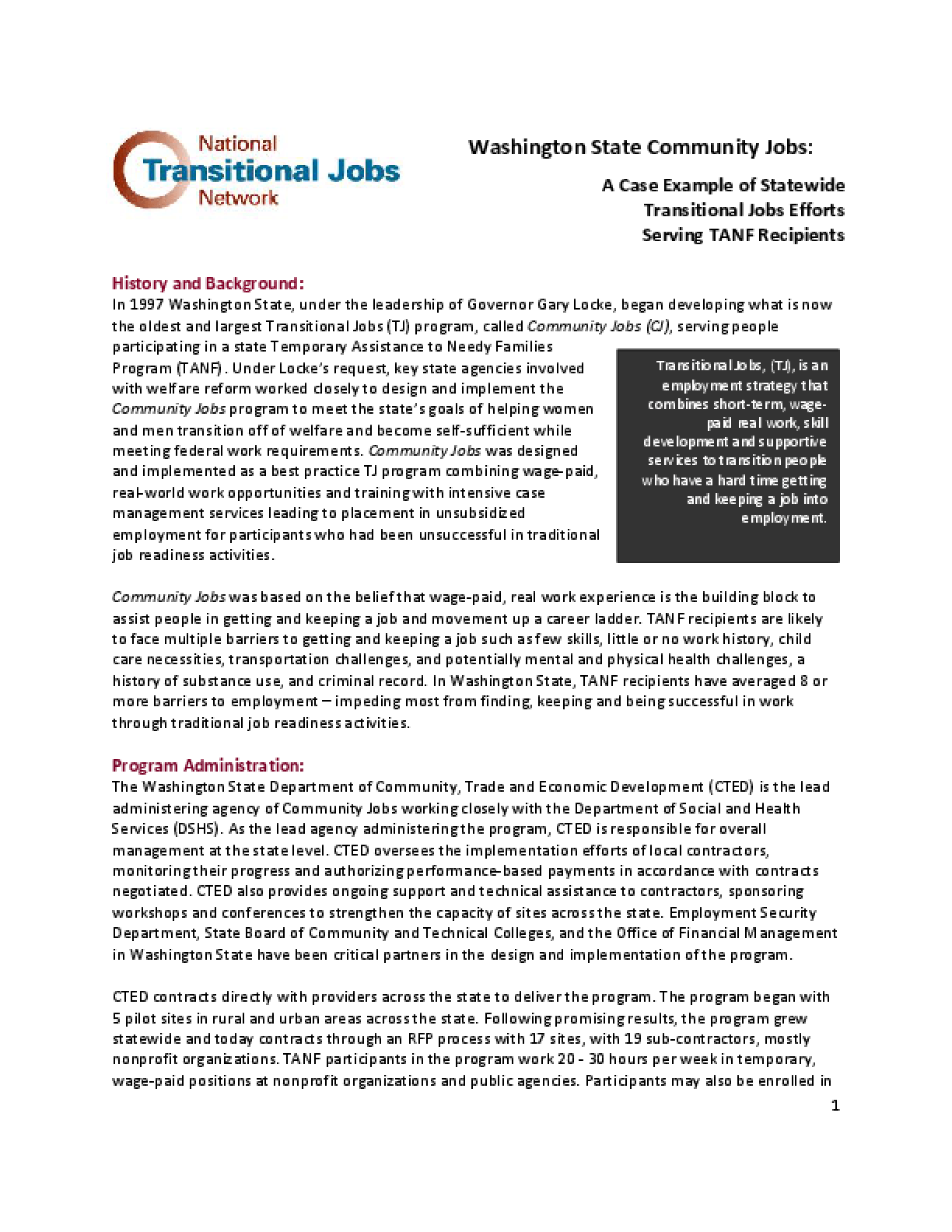 Washington State Community Jobs: A Case Example of Statewide Transitional Jobs Efforts Serving TANF Recipients