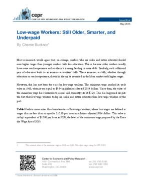 Low-wage Workers: Still Older, Smarter, and Underpaid