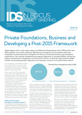 Private Foundations, Business and Developing a Post - 2015 Framework
