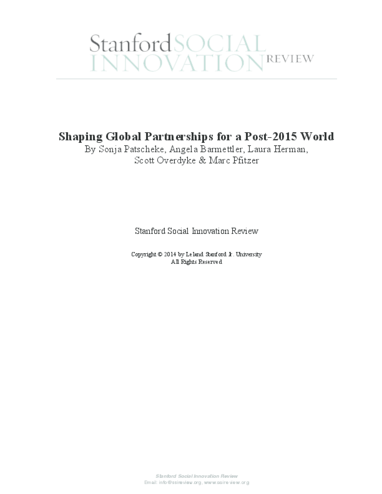 Shaping Global Partnerships for a Post-2015 World
