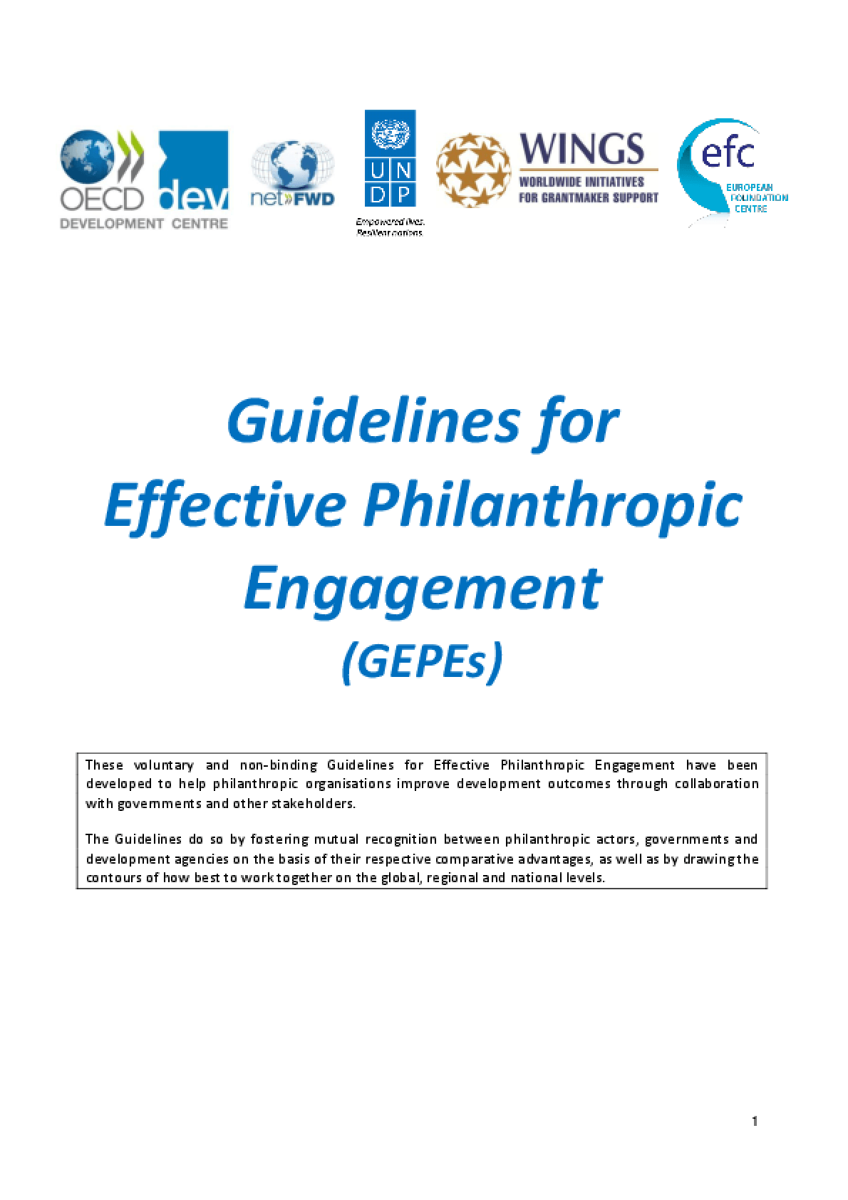Guidelines for Effective Philanthropic Engagement (GEPEs)