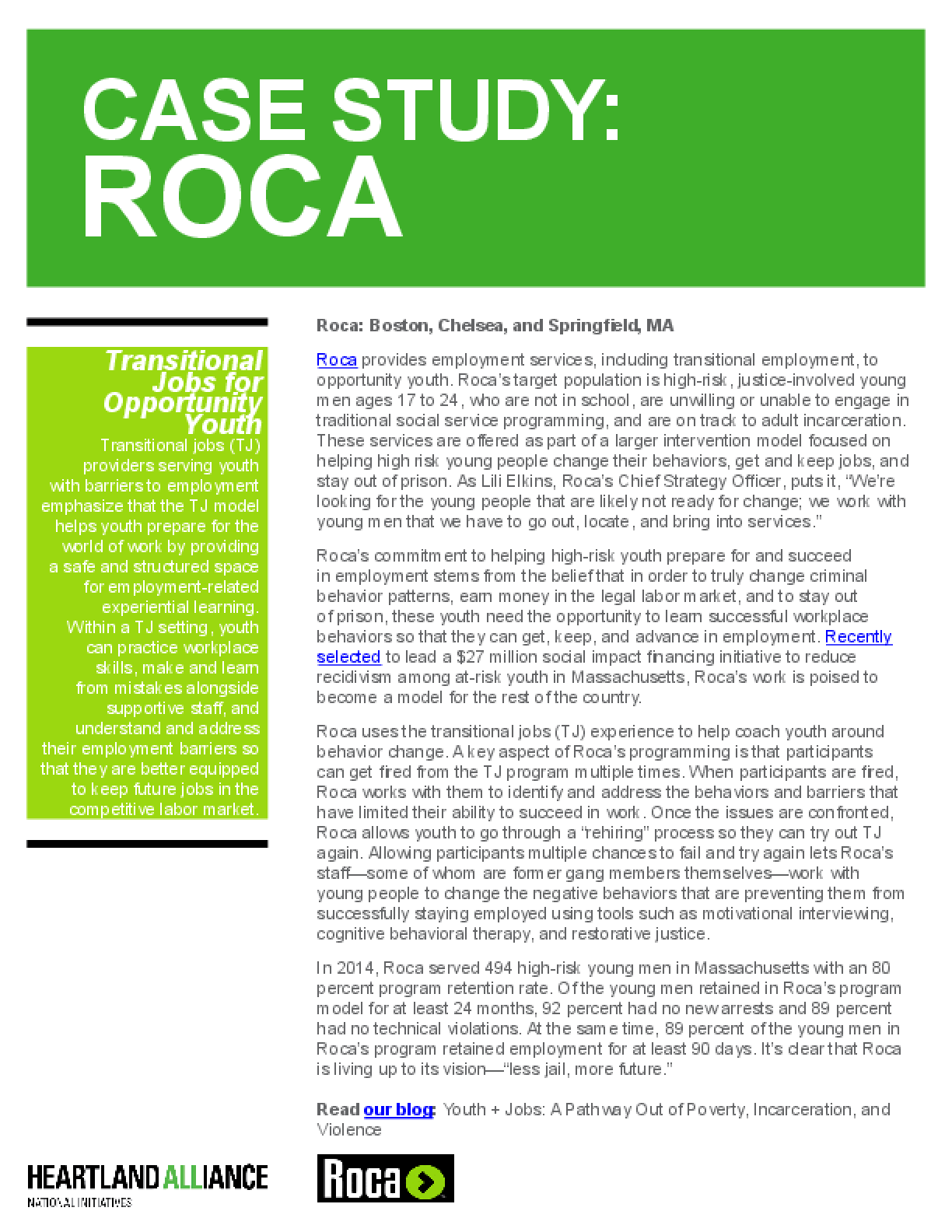 Opportunity Youth Employment Program Case Study: Roca