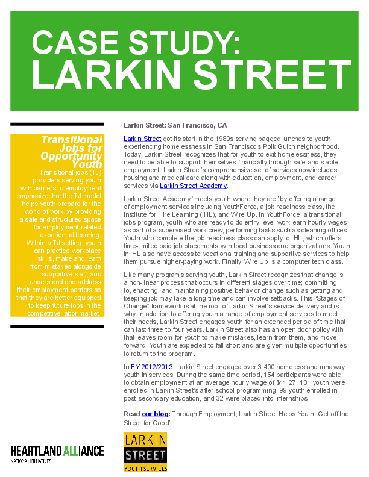 Opportunity Youth Employment Program Case Study: Larkin Street