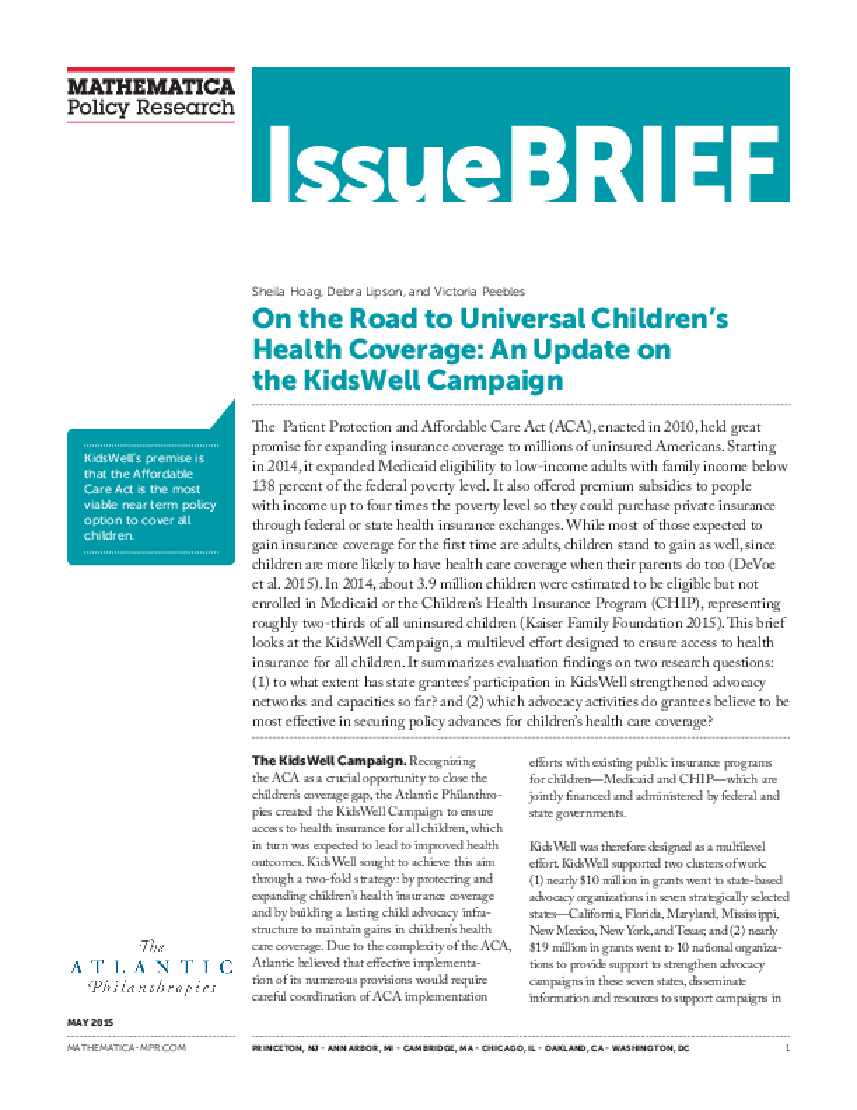 On the Road to Universal Children's Health Coverage: An Update on the KidsWell Campaign