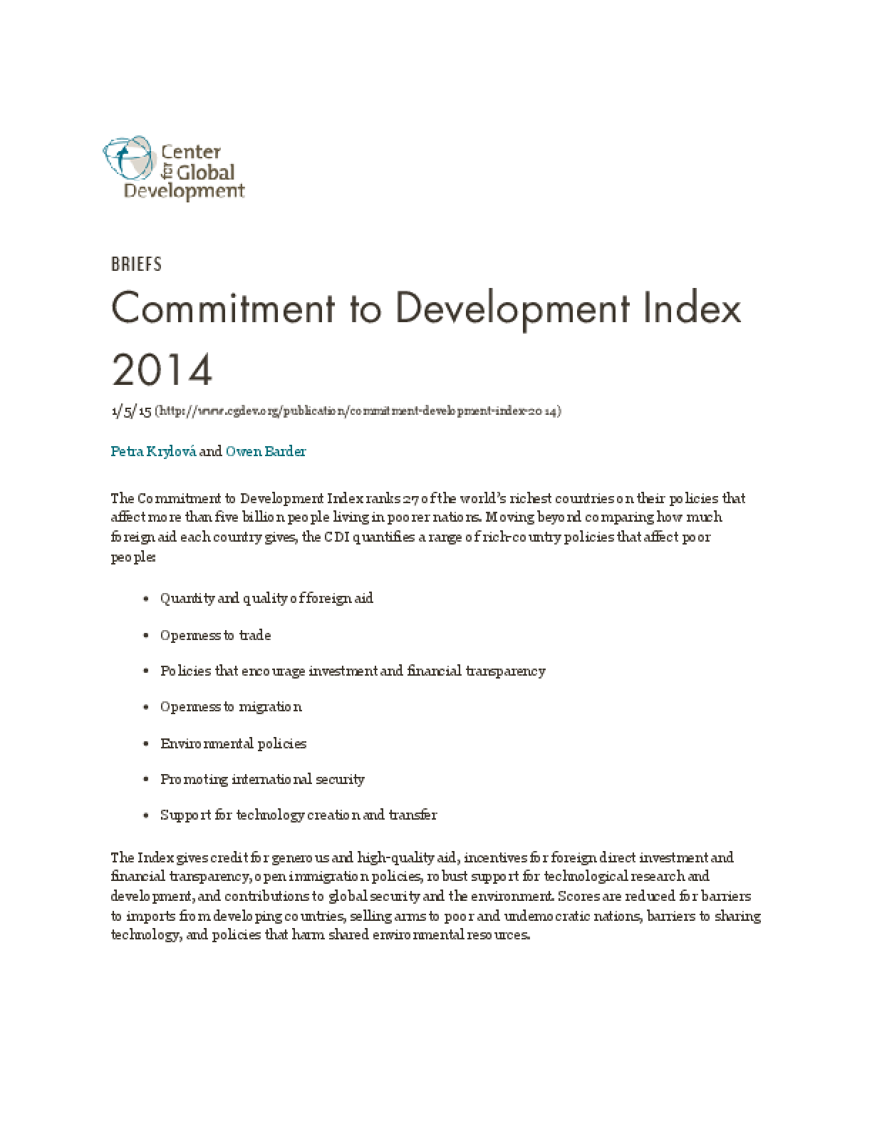 Commitment to Development Index 2014