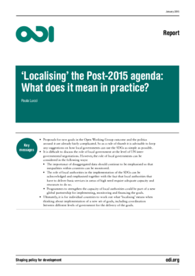 'Localising' the Post-2015 Agenda: What Does It Mean In Practice?