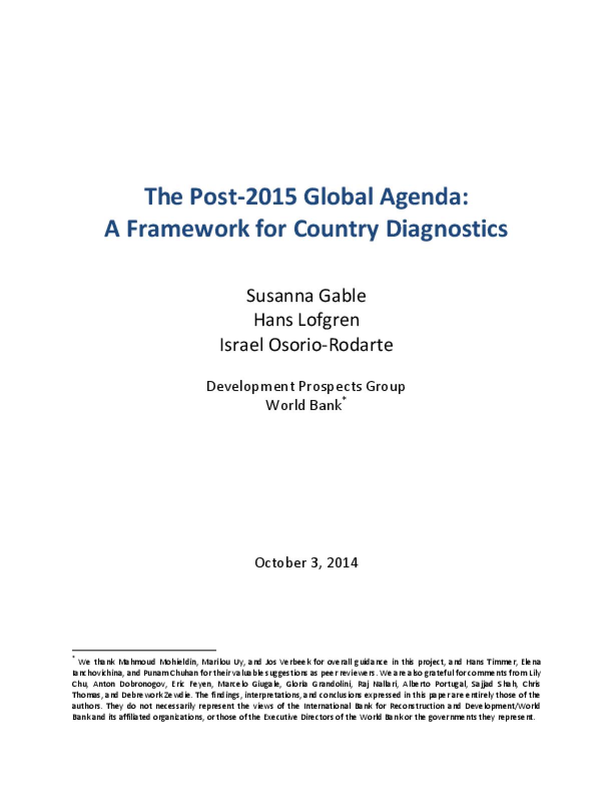The Post-2015 Global Agenda: A Framework for Country Diagnostics