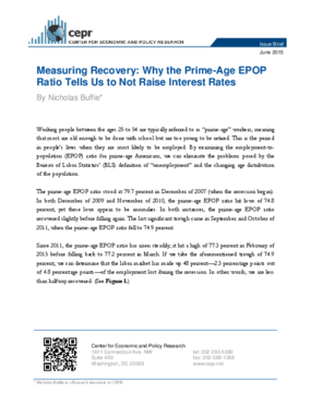 Measuring Recovery: Why the Prime-Age EPOP Ratio Tells Us to Not Raise Interest Rates