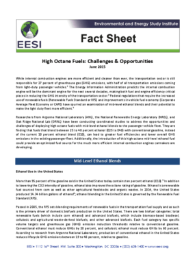 Fact Sheet: High Octane Fuels: Challenges and Opportunities