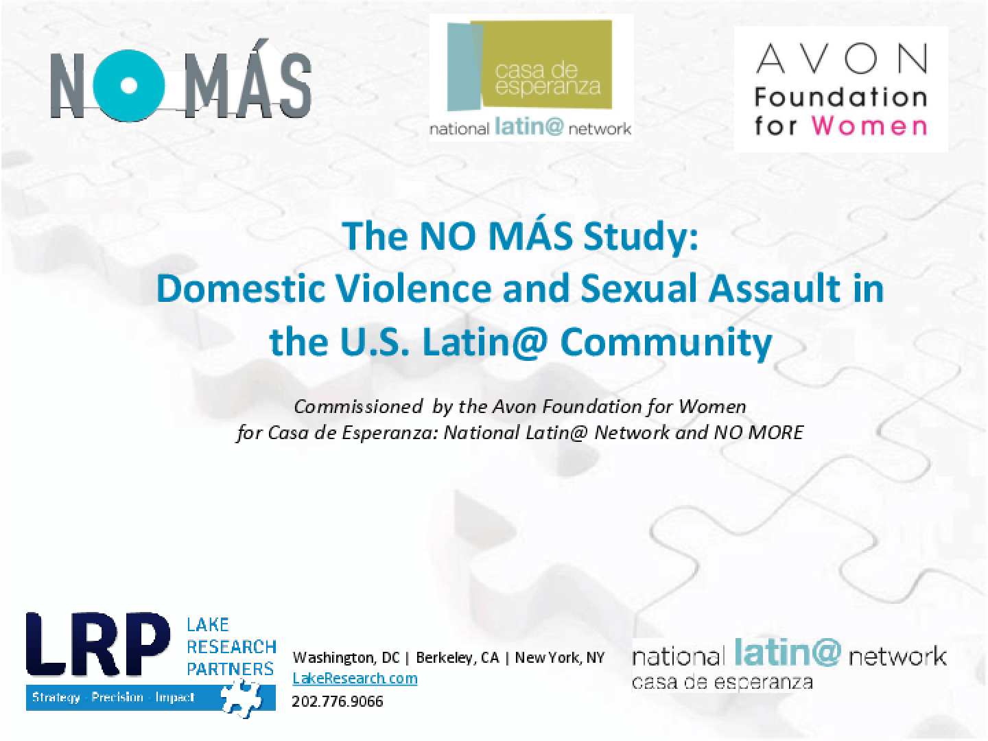 The NO MÁS Study: Domestic Violence and Sexual Assault in the U.S. Latin@ Community