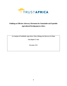 An Analysis of Smallholder Agriculture, Policy-Making And Advocacy In Ghana
