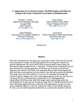 A Comparison of Correction Formats: The Effectiveness and Effects of Rating Scale versus Contextual Corrections on Misinformation