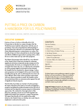 Putting A Price On Carbon: A Handbook for U.S. Policymakers