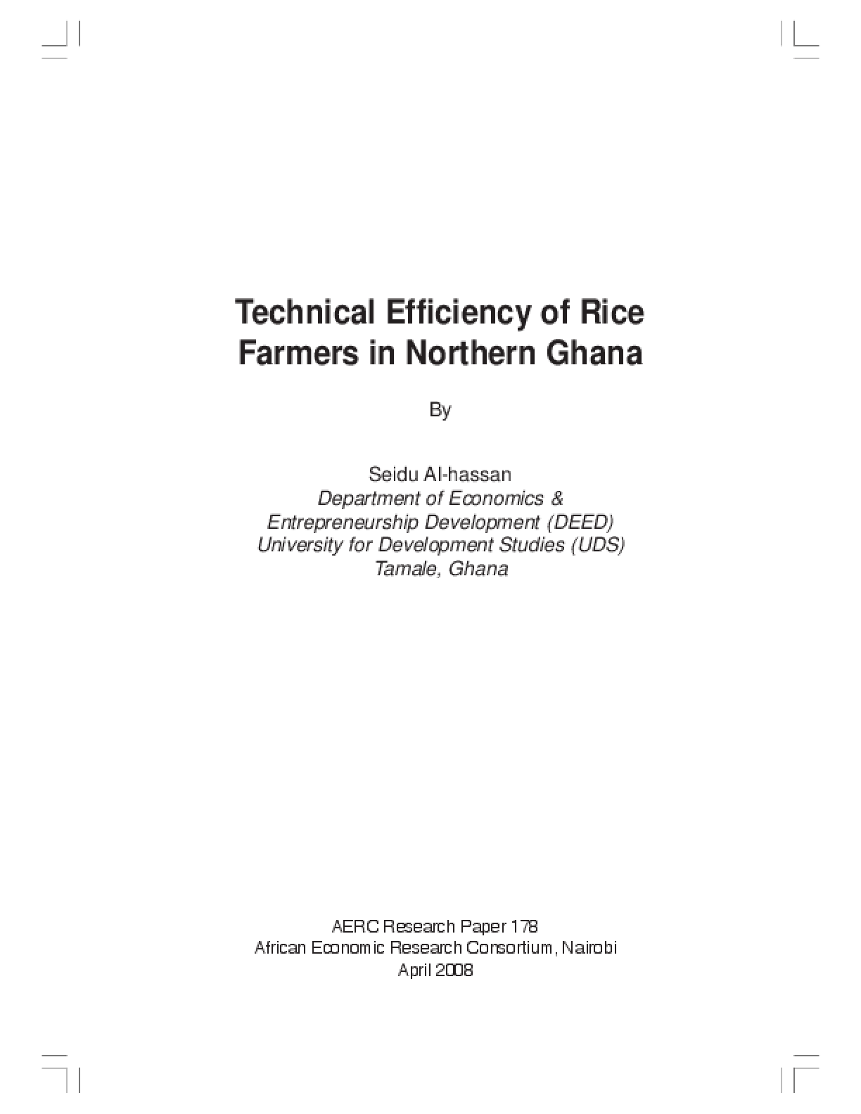 Technical Efficiency of Rice Farmers in Northern Ghana