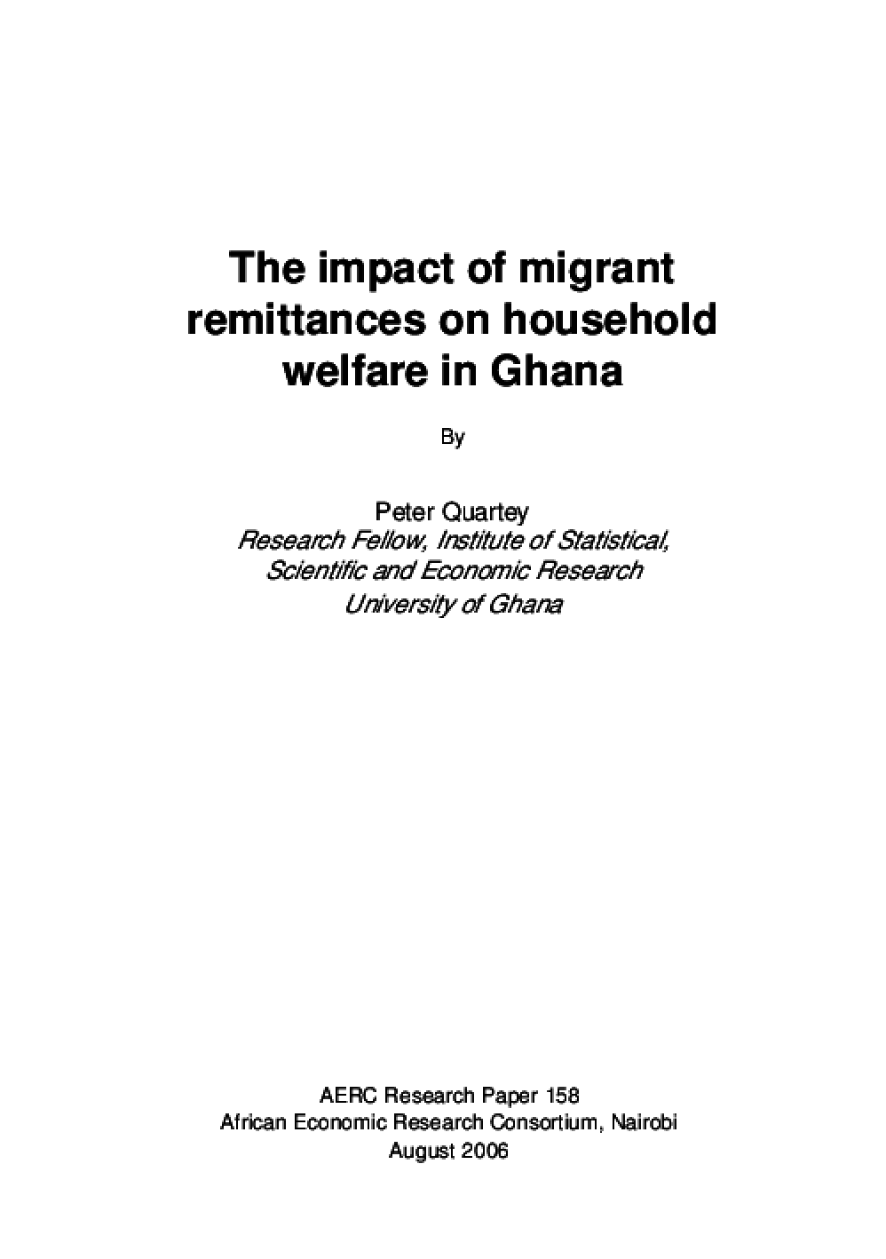 The Impact of Migrant Remittances on Household Welfare in Ghana