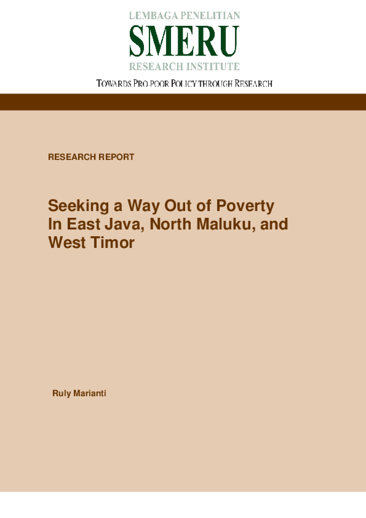 Seeking a Way Out of Poverty in East Java, North Maluku, and West Timor