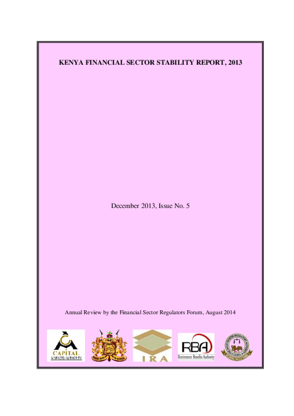 Kenya Financial Sector Stability Report, 2013