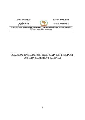 Common African Position (CAP) on the Post-2015 Development Agenda