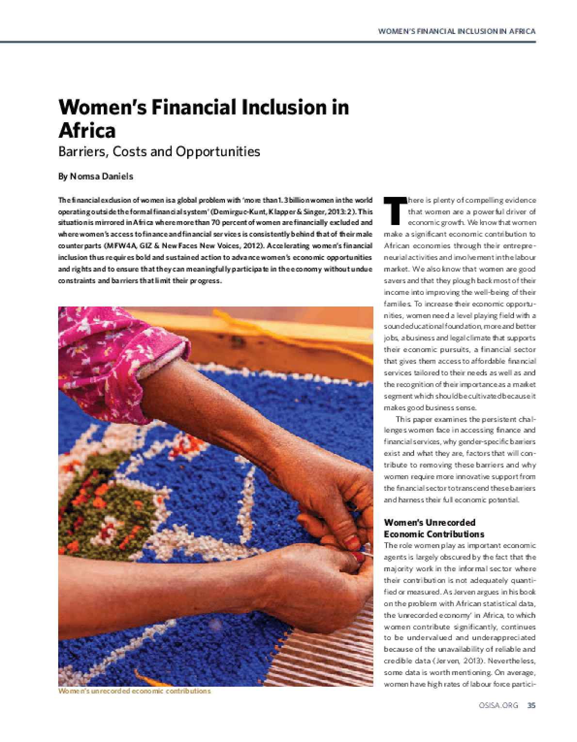 Women's Financial Inclusion in Africa