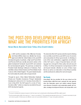 The Post-2015 Development Agenda: What Are the Priorities for Africa?