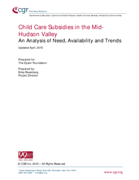 Child Care Subsidies in the Mid-Hudson Valley: An Analysis of Need, Availability and Trends