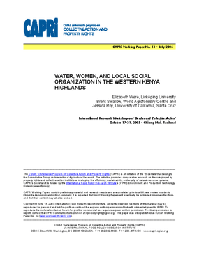 Water, Women, and Local Social Organization in the Western Kenya Highlands