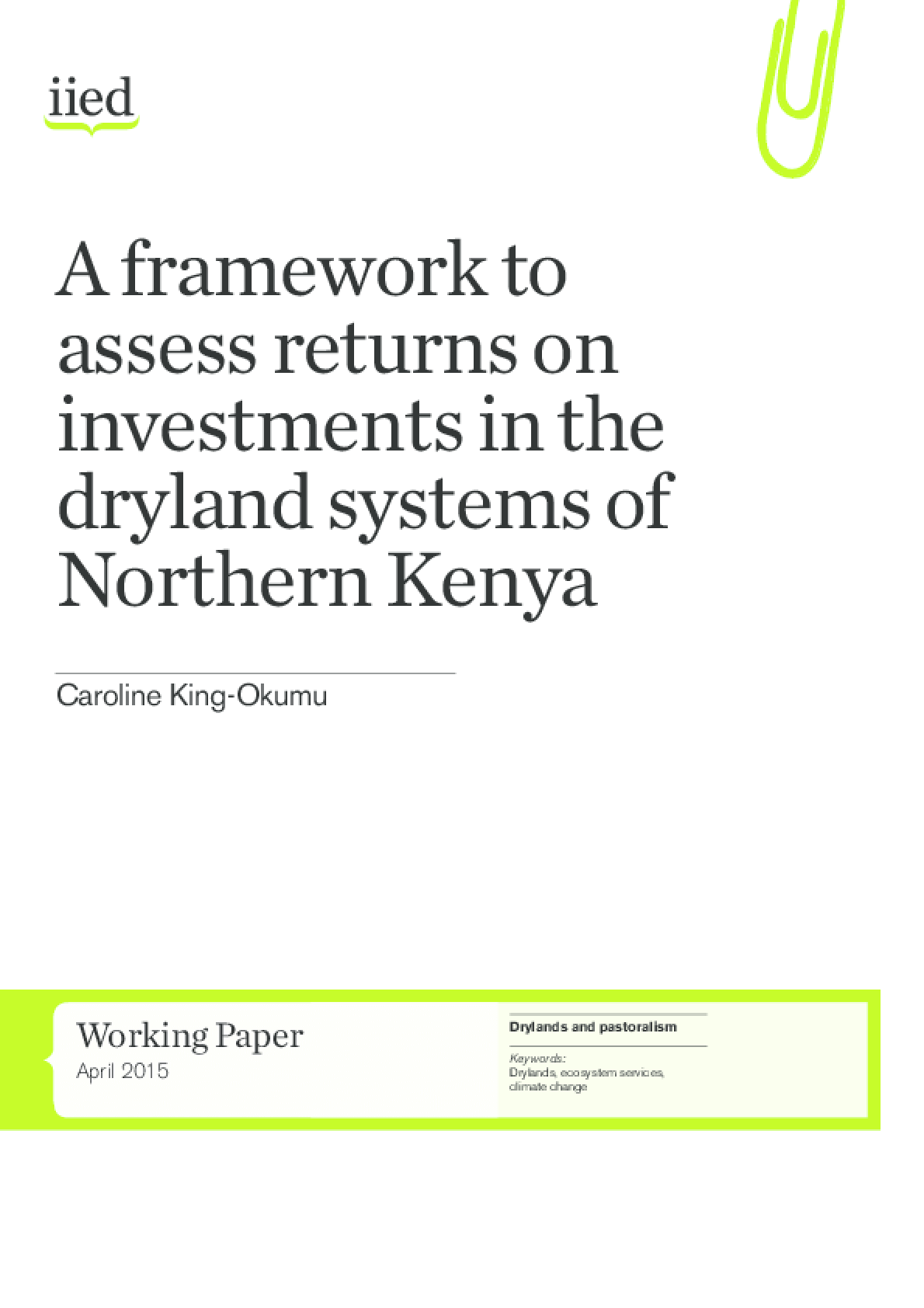 A Framework to Assess Returns on Investments in the Dryland Systems of Northern Kenya