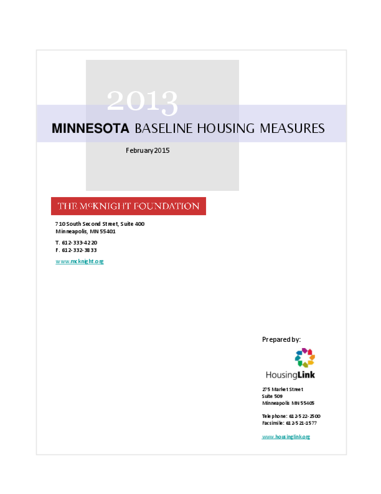2013 Minnesota Baseline Housing Measures