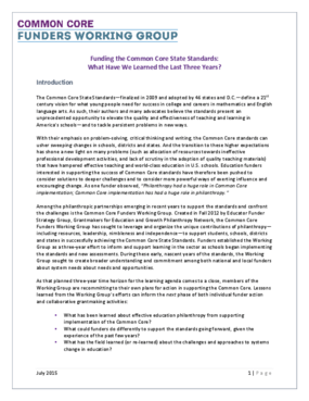 Funding the Common Core State Standards: What Have We Learned the Last Three Years?