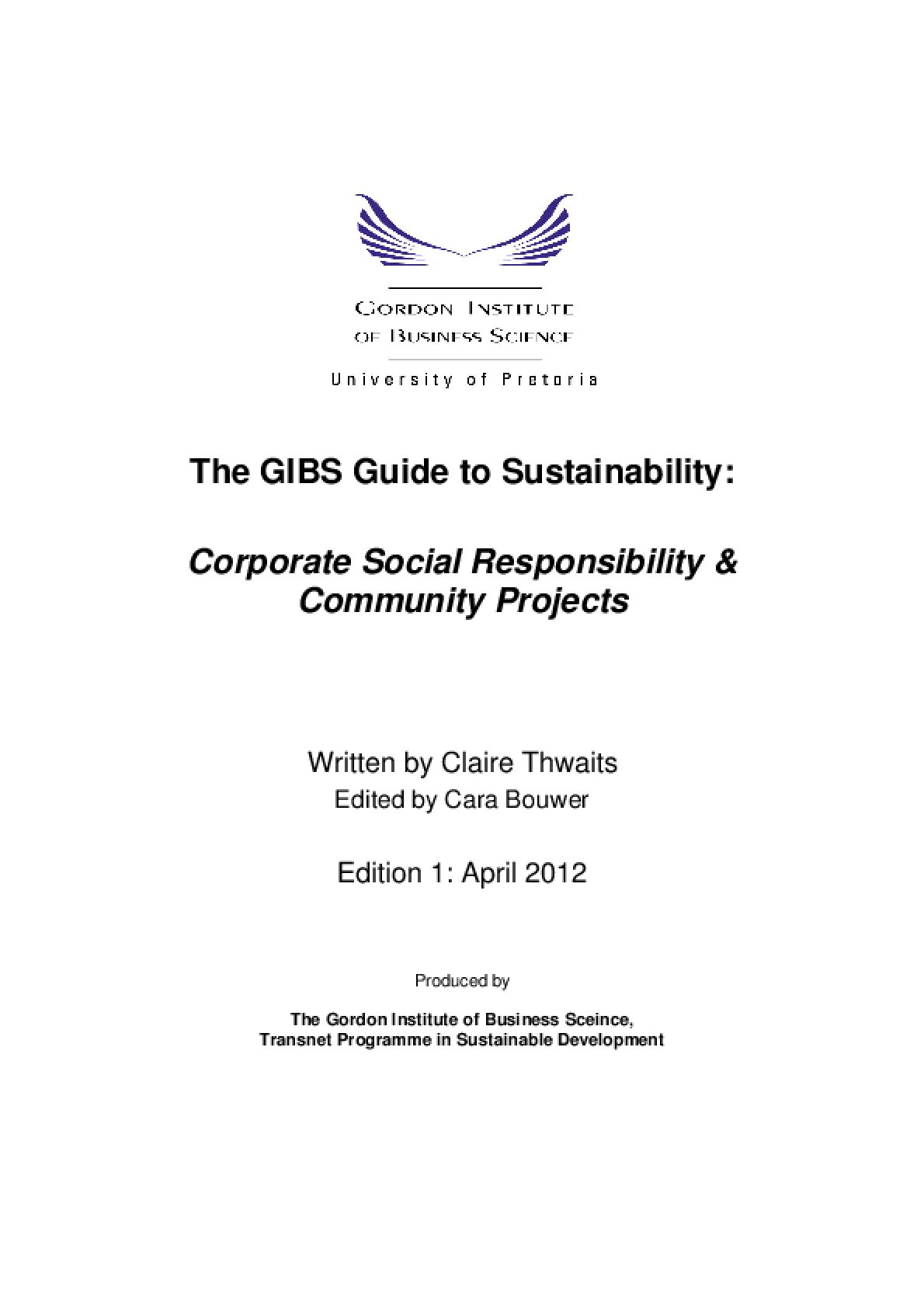 The GIBS Guide to Sustainability: Corporate Social Responsibility and Community Projects