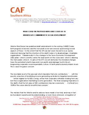 What Could the Proposed New B-BBEE Codes Do to Business SA's Commitment to Social Development?