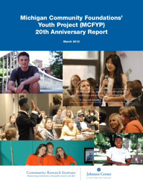 Michigan Community Foundations' Youth Project (MCFYP) 20th Anniversary Report