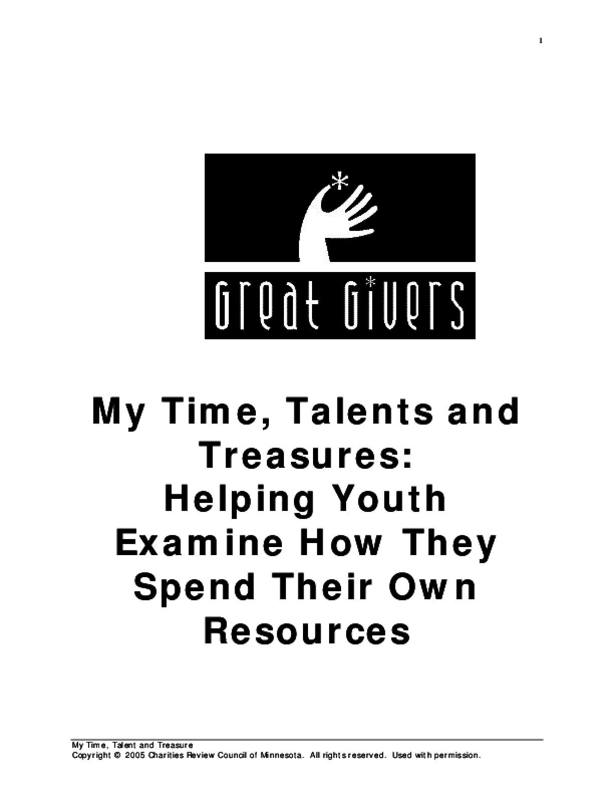 My Time, Talents and Treasures: Helping Youth Examine How They Spend Their Own Resources