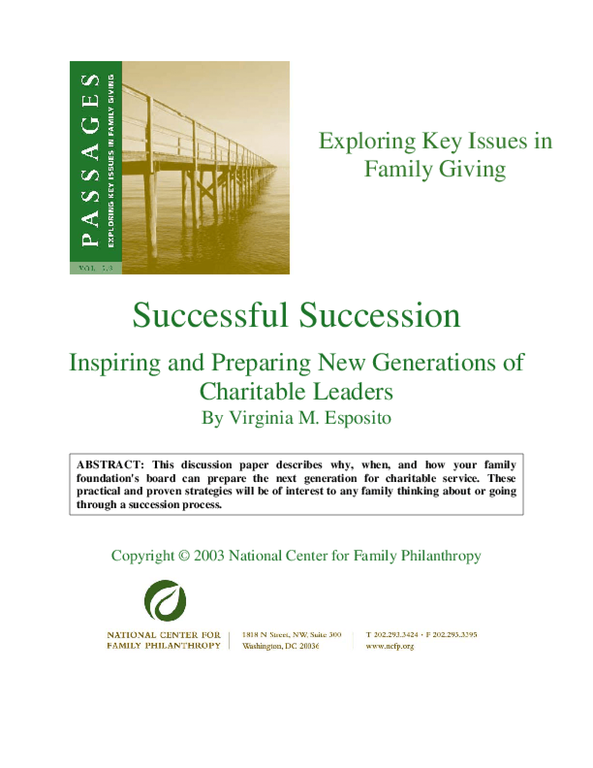 Successful Succession: Inspiring and Preparing New Generations of Charitable Leaders