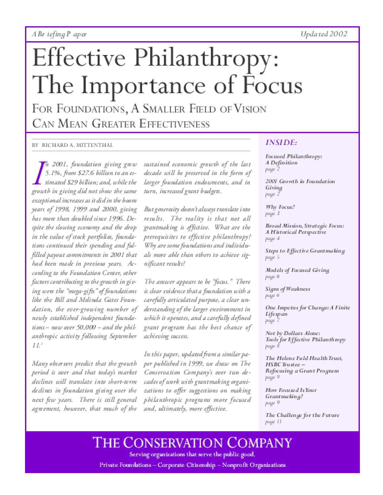 Effective Philanthropy: The Importance Of Focus