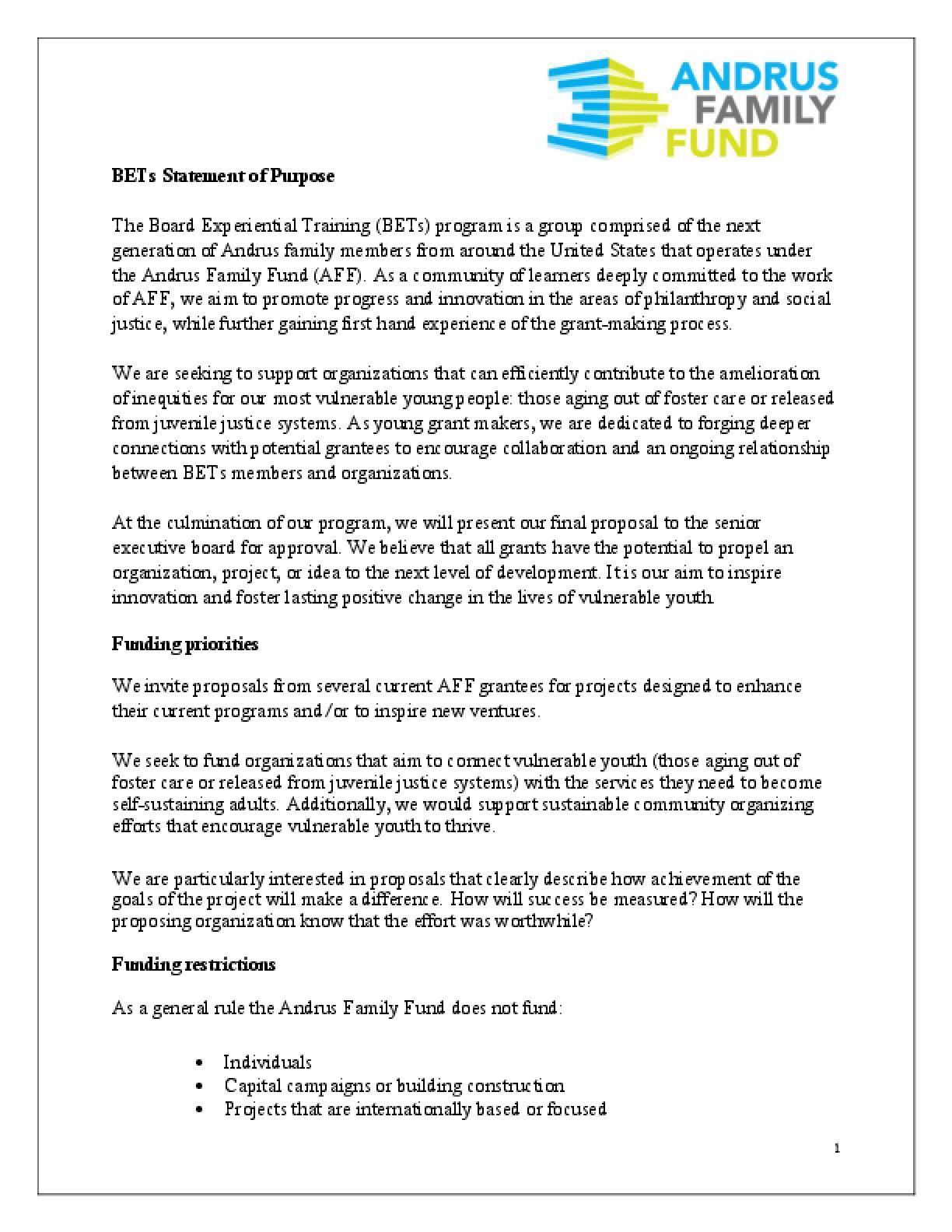 Next Gen Fund RFP