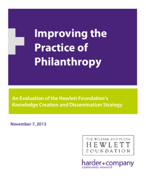 Improving the Practice of Philanthropy: An Evaluation of the Hewlett Foundation's Knowledge Creation and Dissemination Strategy