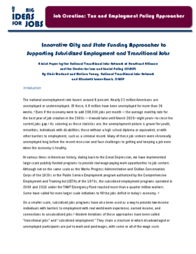 Innovative City and State Funding Approaches to Supporting Subsidized Employment and Transitional Jobs
